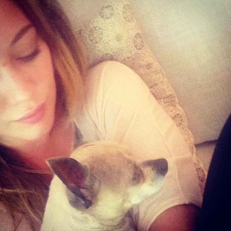 Хилари Дафф с собачкой