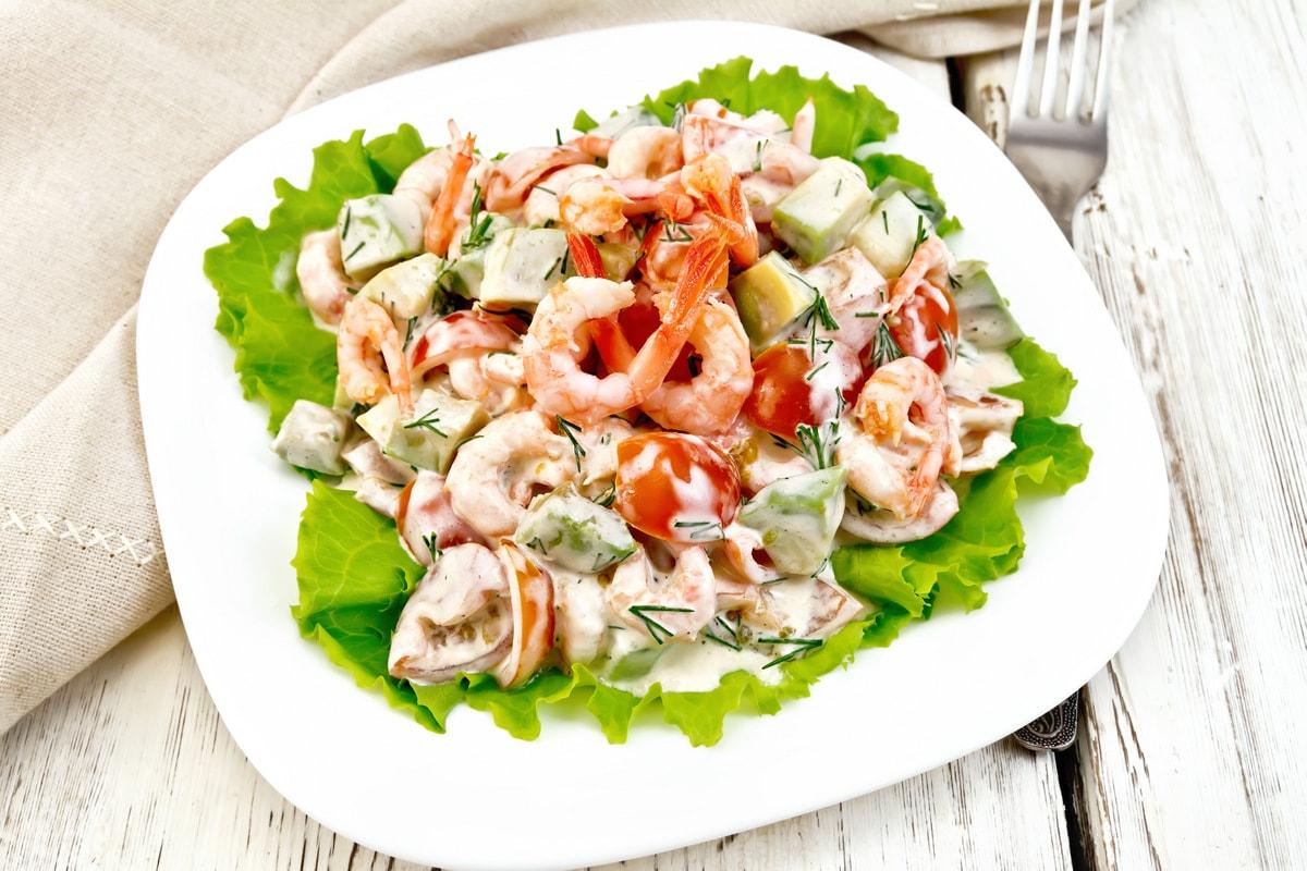 Рецепт салата из морепродуктов 9 рецептов салата из морепродуктов