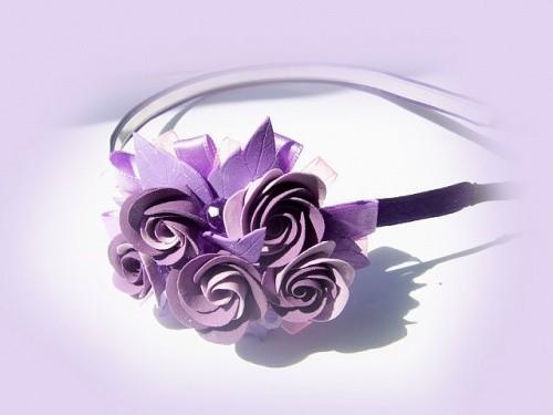 Ободок «Пурпурная роза» из полимерной глины