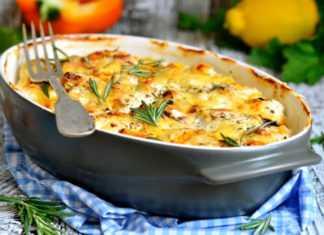 Запеченная хоки с овощами и сыром