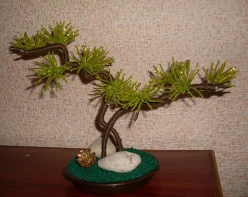 Дерево из бисера «Игольчатый бонсай»