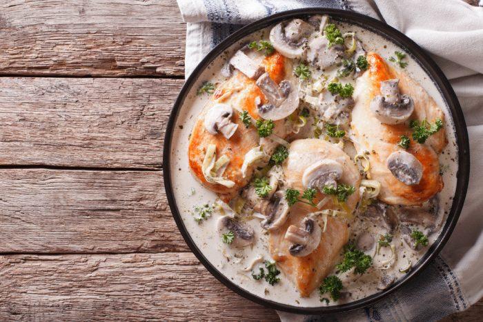 Грибы с мясом и овощами в сковороде