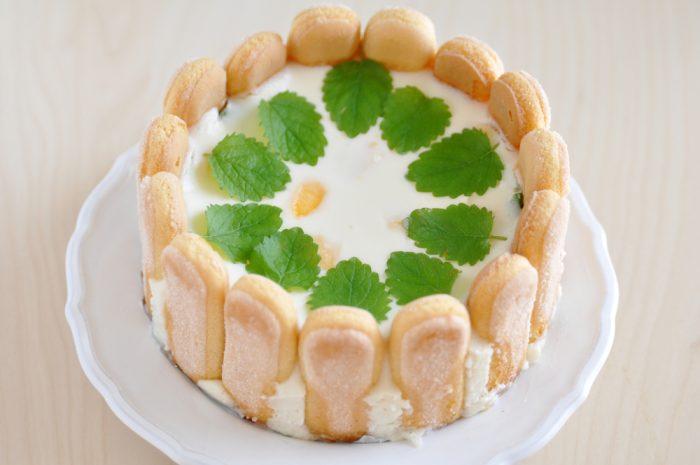 Пирог с маскарпоне на тарелке с листиками мяты