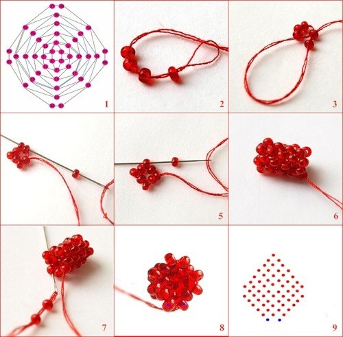 Маленький Цветок Фуксии в Подарок на 14 Февраля из Бисера 1