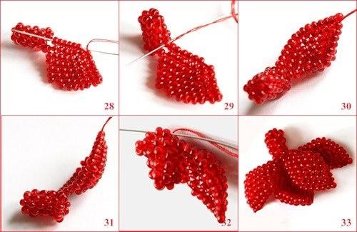 Маленький Цветок Фуксии в Подарок на 14 Февраля из Бисера 3