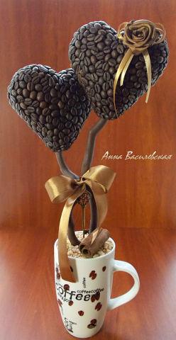 3 Оригинальных Подарка – Топиарий в Виде Кофейного Дерева ко Дню Святого Валентина