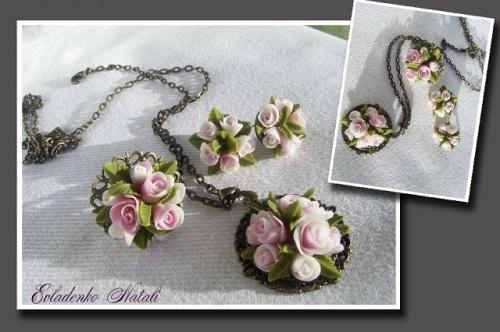 Комплект украшений Розалина в виде кулона, сережек и кольца