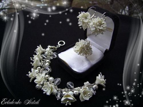 Комплект украшений Зима в виде сережек, браслета и кольца