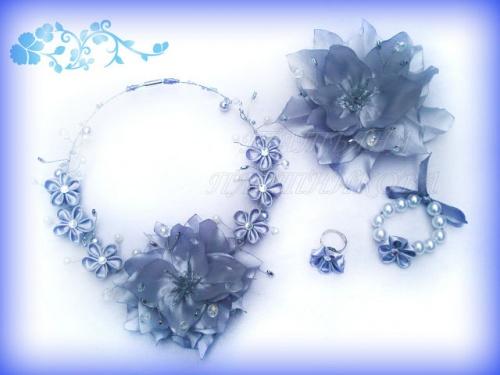 Набор украшения из атласных лент Снежная королева