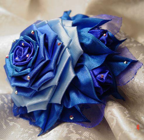 Цветы из атласной ленты по технике канзаши Небесное счастье