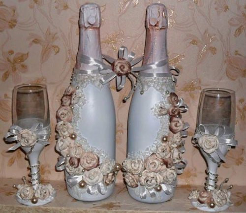 Украшение свадебных бокалов своими руками мастер-класс