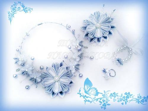 Набор украшения из атласных лент Порхание бабочки