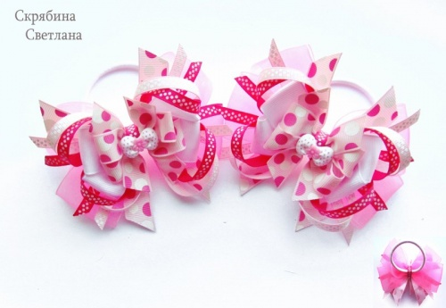 Резинка для волос по технике канзаши Розовое счастье