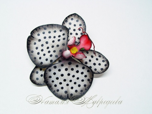 Зажим для волос с орхидеей Фэнтези в горошек