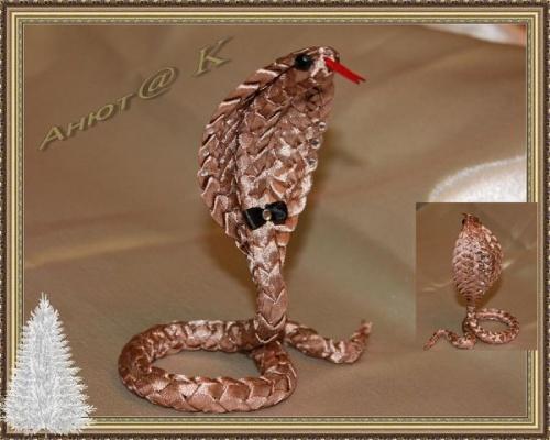 Змея из атласной ленты Песчаная