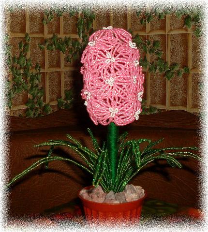 Цветочные композиции из бисера Гиацинт розовый