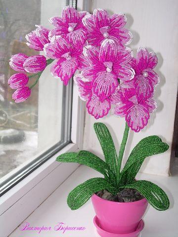 Цветочная композиция из бисера Орхидея розовая