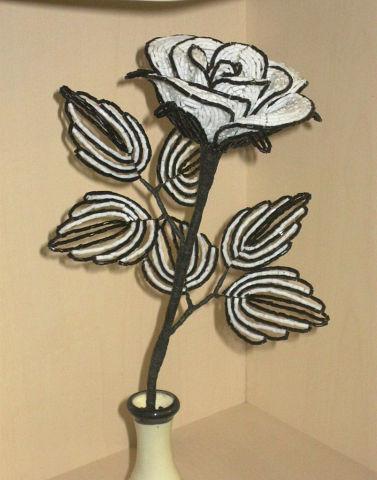 Роза из бисера Инь-Янь