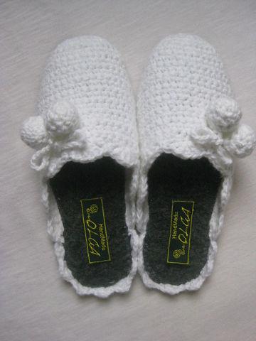 Вязальные тапочки для женщин Снежные