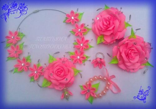 Набор украшения из атласных лент Розовая роза