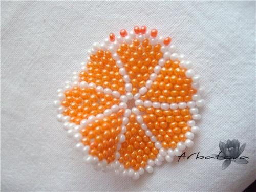 Плетение Брелка-Апельсина из Бисера – Мастер-Класс. Часть 2. Шаг 11