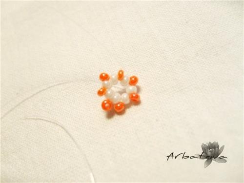 Плетение Брелка-Апельсина из Бисера – Мастер-Класс. Часть 1. Шаг 3.