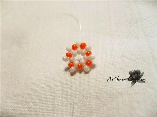 Плетение Брелка-Апельсина из Бисера – Мастер-Класс. Часть 1 Шаг 4.