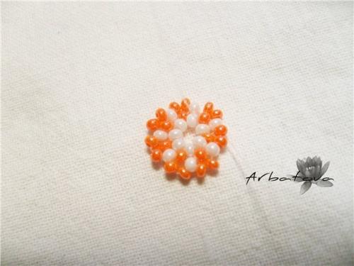 Плетение Брелка-Апельсина из Бисера – Мастер-Класс. Часть 1 Шаг 5.