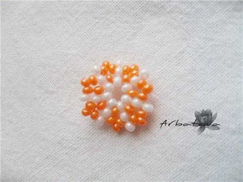 Плетение Брелка-Апельсина из Бисера – Мастер-Класс. Часть 1 Шаг 6.