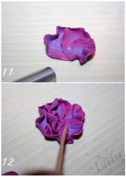 Мастер-Класс – Цветок Фактурных Лепестков из Полимерной Глины. Часть 2. Шаг 6.