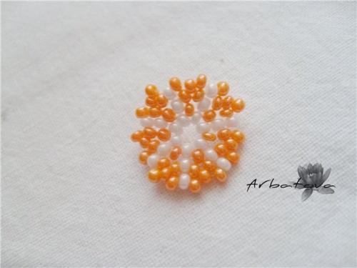 Плетение Брелка-Апельсина из Бисера – Мастер-Класс. Часть 2. шаг 7