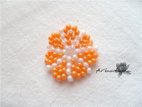 Плетение Брелка-Апельсина из Бисера – Мастер-Класс. Часть 2. шаг 8