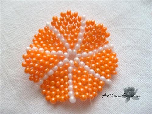 Плетение Брелка-Апельсина из Бисера – Мастер-Класс. Часть 2. Шаг 9