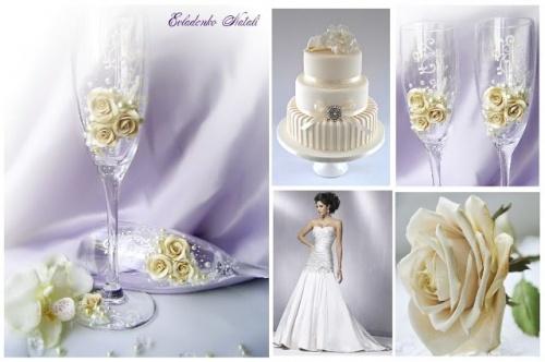 Свадебные бокалы Бежевые розы