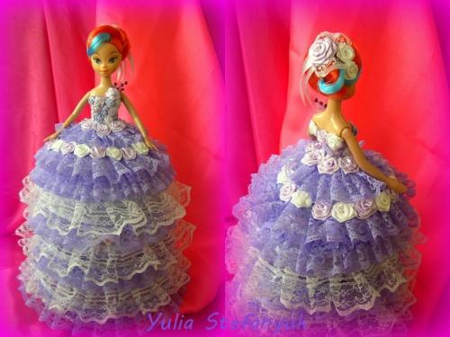 Кукла-шкатулка Модница по технике шитья