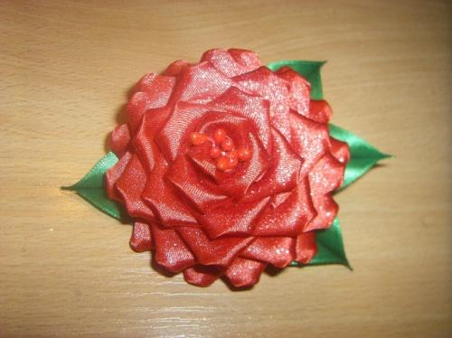 Заколка Роза красная