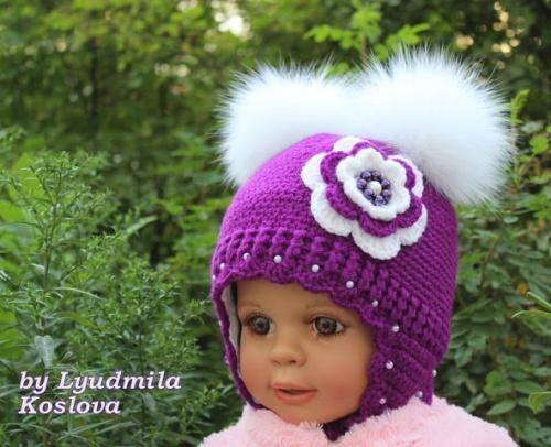 Вязаные шапочки для деток Сирень