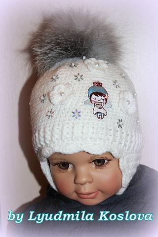 Вязаные шапочки для деток Снежинка»