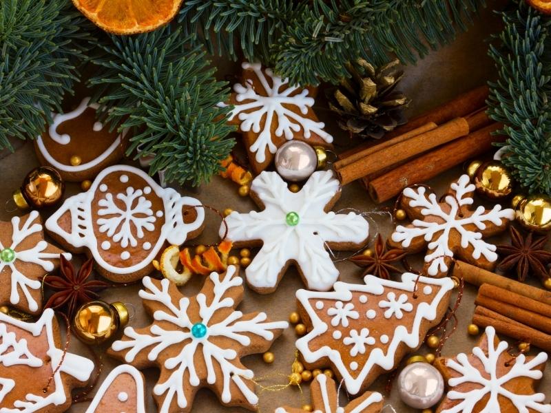 Коврижка (Рождественский пряник) и жареные каштаны, Германия