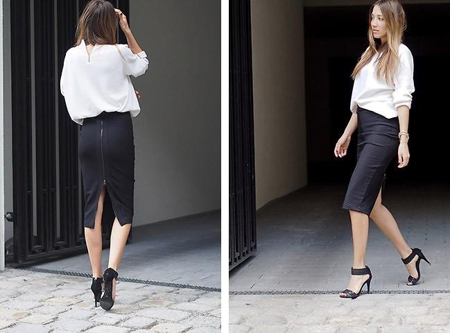 Вариант одежды для работы летом (черная юбка)