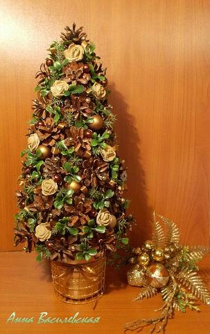 Новогодняя елка из шишек своими руками мастер класс