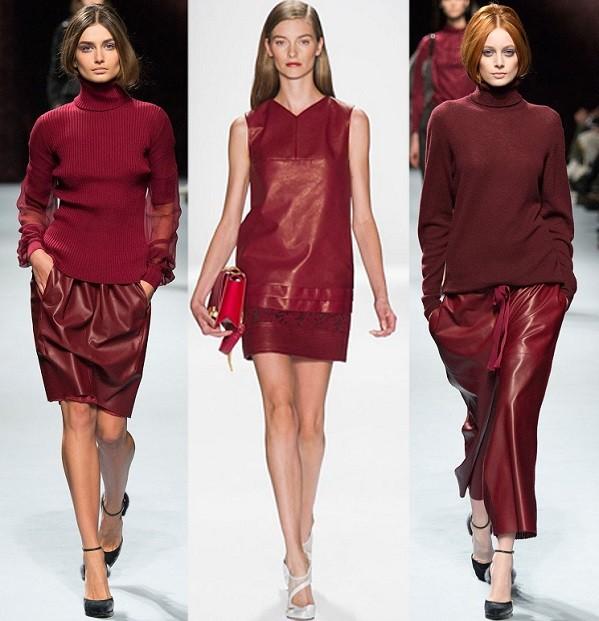 Модели в нарядах цвета марсала