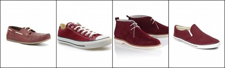 Мужская обувь цвета марсала