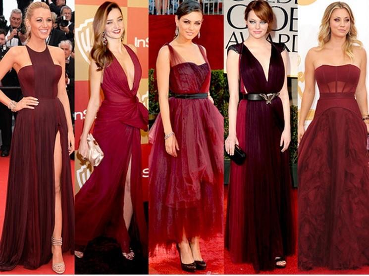 Платья цвета марсала 2