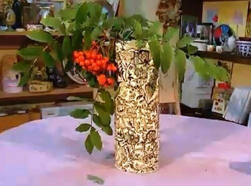 Декупаж вазы из коробки для коньяка
