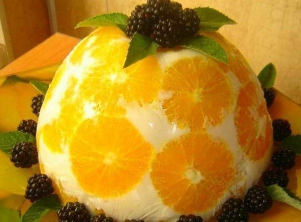 Рецепт желейного торта из апельсинов и йогурта