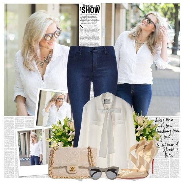 Образ в классической белой рубашке 4