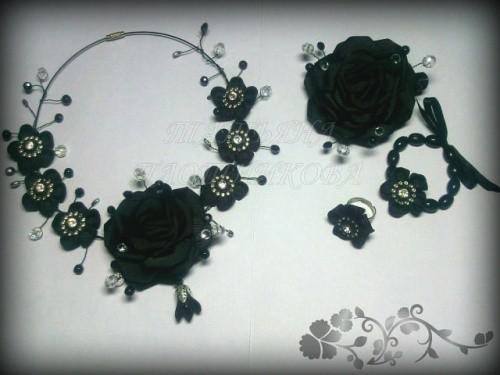 Набор украшений по технике канзаши «Роза в черном»