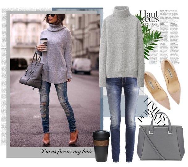 Образ в темных джинсах 3