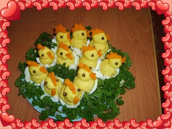 Закуска в виде «Цыплят» - быстрый рецепт приготовления